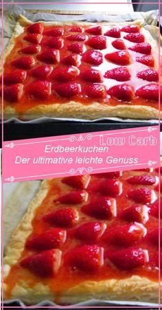 ZUTATEN:  Für den Boden: 4 Ei(er), getrennt 2 EL Wasser, heißes 50 g Rohrzucker 125 g Mehl 1 TL Backpulver  Für den Belag: 750 g Erdbeeren  Für den Guss: 1 Pck. Tortenguss ZUBEREITUNG: Kalorien pro Portion ca. 77 kcal  Eigelbe mit Wasser und Rohrzucker weißschaumig schlagen. Mehl und Backpulver mischen, darüber... Pizza Hut, Pepperoni, Waffles, Breakfast, Cake, Desserts, Diet Cake, Strawberries, Brot