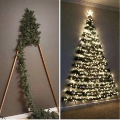 Space-saving Xmas tree decoration sends mums wild as kids can't knock it over Wall Christmas Tree, Noel Christmas, Simple Christmas, Christmas Ornaments, Creative Christmas Trees, Nordic Christmas, Chrismas Tree Diy, Diy Christmas Frames, Christmas Tree Made Of Lights