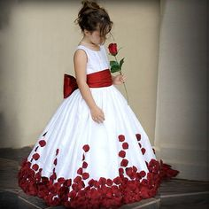 F3019 Lovely Ball Gown Red Unique Floor Length Beautiful Flowers Appliques Pageant Flower Girl Dresses With Bow Belt For Wedding
