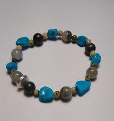 Amband edelstenen en zilveren kraal. van Atelier925 op DaWanda.com