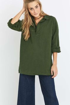 Urban Renewal Vintage Originals Swedish Collared Green Shirt