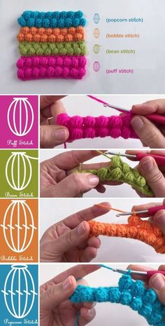 Crochet Stitches – Puff, Bean, Bobble, Popcorn