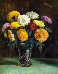 The Athenaeum - Chrysanthemums in a Cut Glass Vase (George Leslie Hunter - )