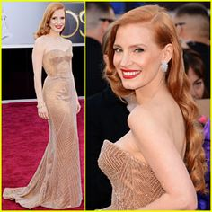 Jessica Chastain - Oscars 2013 Red Carpet. The 36-year-old Oscar-winning actress looked stunning in a Louis Vuitton dress and jewelry, which her daughter Ava helped pick out