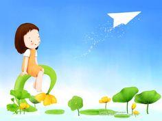 Kim Jong Bok : Sweet Childhood Lovely Girl - Summer Fairy - Sweet Little Girl Cartoon Wallpaper 29 Illustration Cartoon, Korean Illustration, Little Girl Cartoon, Little Girls, Cartoon Girls, Anime Girls, New Year Diy, Cartoon Wallpaper, Sketches