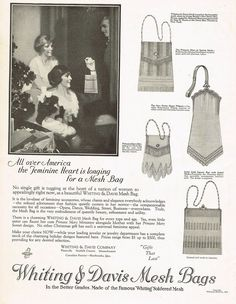 1920's BIG Old Vintage Whiting Davis Mesh Bags Handbag Co. Art Print Ad