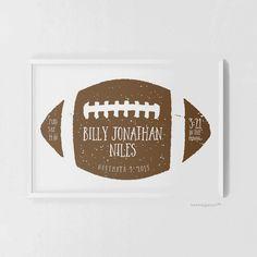 Football personalized birth stats baby boy nursery art print