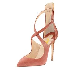 3550e3607bbc Pink Stiletto Heels Closed Toe Sandals Cross-over Strap Suede Shoes  shoes