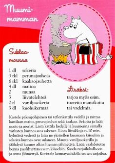 All things moomin. Moomin Mugs, Finnish Recipes, Delicious Desserts, Yummy Food, Baking With Kids, Sweet Pastries, Old Recipes, Recipe Cards, Love Food