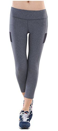 9200470a6f72f5 Alaroo Womens Printed Capri Cropped Leggings for Athletic Black Grey S **  For more information, visit image link. (Note:Amazon affiliate link)