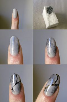 Tutorial: Kintsugi Nails Here's how I did this design– it's actually pretty simple. You'll need a couple of shades of gray polish, black polish or acrylic paint, metallic polish or paint, a makeup...