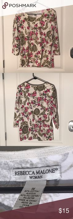 ⚡️Sale⚡️Rebecca Malone 1X Blouse Women's size 1X blouse. Very cute, comfortable top. In excellent condition! Feel free to make offers🌟 Rebecca Malone Tops Blouses