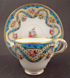 Beautiful Antique Minton Sevres Style Tea Cup Saucer