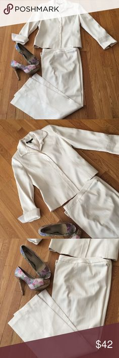Larry Levine cream  white pants suit size 4 This is a very nice pantsuit by Larry Levine  Cream color white in color white size 4 women  pinstripe, polyester spandex blend fully lined pants and jacket cufflinks button sleeps dimensions are pant waist 29 hips 40 rice 10 inseam 30 length 40 blazer bust 37 Waist 33 length 22 1/2 Larry Levine Other