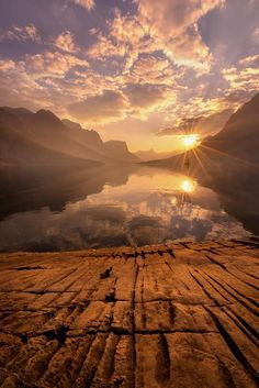 """Forget the past. Tomorrow is a new day. New day, new hopes and new life.""  ― Lailah Gifty Akita ~ Sunset, Glacier National Park, Montana"