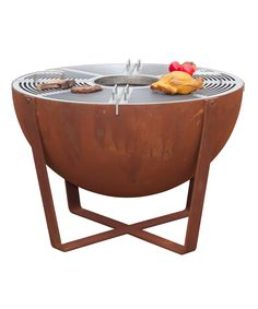 Nouvel Kugelgrill und Feuerschale - New Ideas Fire Pit And Bbq Grill, Fire Pit Patio, Outdoor Kitchen Grill, Fire Pit Cooking, Steel Fire Pit, Fire Pits, Large Fire Pit, Man Cave Room, Outdoor Living Rooms