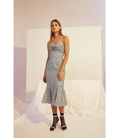 d0f88339d1 Keepsake Belong Polka Dot Strapless Midi Dress