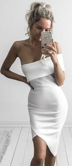 #summer #kirstyfleming #outfits | White Asymmetrical Little Dress
