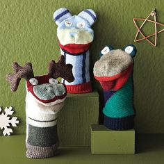 recycled hand puppets or use socks to create puppets.  The dryer always leaves many lonely socks.