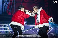 Seungri & G Dragon - BIGBANG JAPAN DOME TOUR 2013 (Tokyo Dome) Dec. 19th ~ Dec. 21st  Wonder who's arm that is behind G Dragon's leg there???