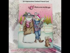 Coolest Friend Card w/ Zig Clean Color Real Brush Pens – Pink Whisper Designs