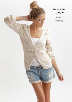 Modèle de tricot - Gilet femme - Catalogue Cheval Blanc n°20 - Laine utilisée : SUNNY