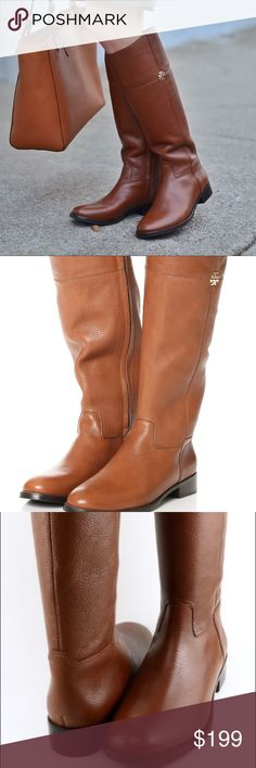 Tory Burch Pebble Leather Brown Riding Boots Pebble leather brown riding boots from Tory Burch. Less than one inch heel.  Size full zip.  Wore it twice only.  Less than one inch heel.  Size 5.5 Medium (I am a size 6 so these run a little larger than typical normal sizing).  No shoe box. Tory Burch Shoes Heeled Boots