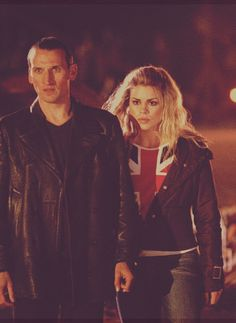 The Ninth Doctor from Doctor Who. Love the distressed leather jacket and Rose's Union Jack shirt.