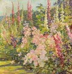 Abbott Fuller Graves  Hollyhocks  Late 19th century