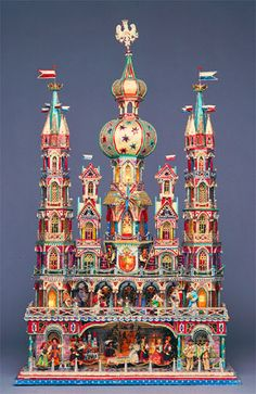 """Polish Christmas crib, Krakow. A long-time tradition in Poland during the Christmas season is the building of """"Szopki"""" (pronounced shop-key). Szopka is a nativity scene, usually more elaborated and ornamented than the real place where Jesus was born."""
