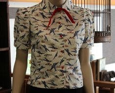 Classic 1940's WWII Vintage Reproduction Blouse . CUSTOM MADE