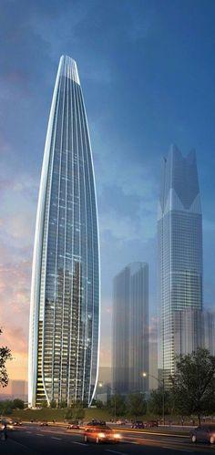 Guangxi Beibu Gulf Bank Headquarters, Nanning, China by Arup :: 75 floors, height 402m [Future Architecture: http://futuristicnews.com/category/future-architecture/]