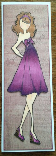Prima doll #14, copics and scrap paper for back ground