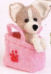 Puppy love dog in a bag toy knitting pattern - pages from a magazine