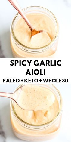 Spicy Garlic Aioli This spicy, garlicky, and creamy condiment is the perfect topping for your favorite burgers and sandwiches! - This spicy, garlicky, and creamy condiment is the perfect topping for your favorite burgers and sandwiches! Sauce Recipes, Paleo Recipes, Cooking Recipes, Paleo Meals, Free Recipes, Keto Sauces, Healthy Sauces, Vegan Sauces, Sauce Barbecue