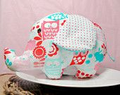 """Baby Plushy Toy Elephant Handmade Designer Fabric Girl Baby Shower """" Hoots Out There In The Garden"""""""
