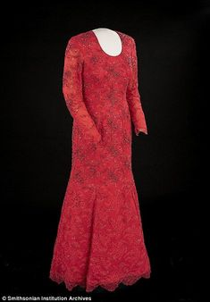 First Lady in red: Laura Bush opted for this eye-catching Michael Faircloth gown for her husbands 2001 inauguration ball
