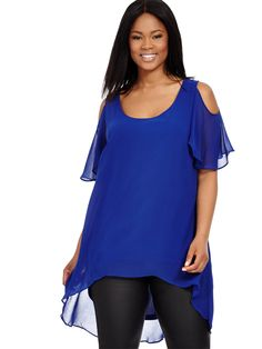 Hi Lo Cold Shoulder Top In Cobalt