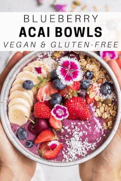 These blueberry acai bowls are a healthy breakfast recipe made with almond milk. Don't forget the chia seeds on top! These blueberry acai bowls are a healthy breakfast recipe made with almond milk. Don't forget the chia seeds on top! Acai Bowl Recipes Healthy, Healthy Breakfast Recipes, Healthy Smoothies, Smoothie Recipes, Healthy Food, Healthy Protein, Homemade Acai Bowl, Breakfast Bowls, Vegan Breakfast