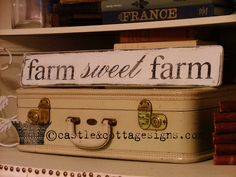 FARM sweet FARM chippy farmhouse vintage sign handpainted. $24.00, via Etsy.