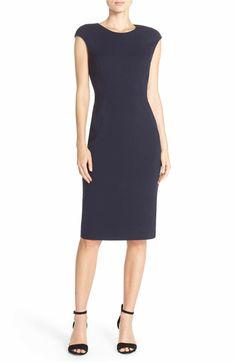 Main Image - Eliza J Cap Sleeve Crepe Sheath Dress (Regular & Petite)