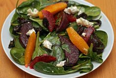 roasted beet salad with orange, olives, and goat cheese