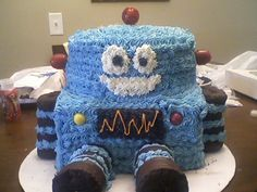 Robot birthday cake - I am so proud of this.  My son LOVED it!  Got the idea from other cakes I viewed on this site!