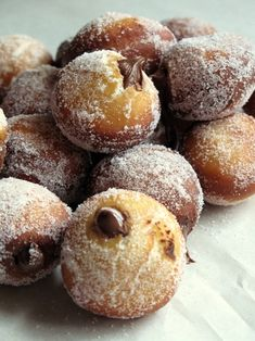 Bomboloni - The Italian version of doughnut holes. They're rolled in sugar and often filled with a pastry cream, or other delicious filling like jam or chocolate, in this case with Nutella! :)
