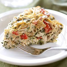 Creamy Turkey and Spinach Pie    Turkey and spinach combine in a creamy sauce that's truly irresistible. This subtly cheesy dish cuts calories by using an array of healthy veggies for flavor.    Before: 520 cal., 37 g fat, 481 mg sodium  After: 249 cal., 11 g fat, 340 mg sodium