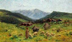 Algérie - Peintre Américain, John Lewis Shonborn ( 1852–1931), Huile sur panneau, Titre : Le Berger Kabyle