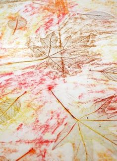 Leaf Rubbings with Wax Crayons
