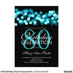80th Birthday Party Turquoise Hollywood Glam 5x7 Paper Invitation Card