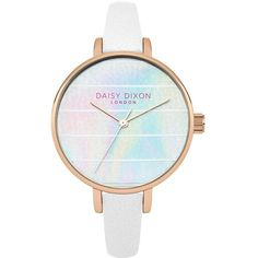 Daisy Dixon Kylie Iridescent Striped Dial White Strap Ladies Watch ($47) ❤ liked on Polyvore featuring jewelry, watches, metallic jewelry, leather watches, leather jewelry, iridescent jewelry and dial watches