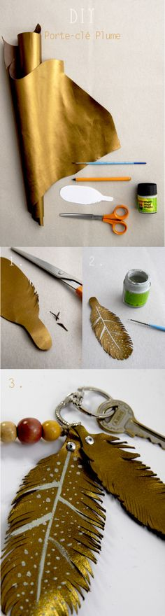 DIY-Keychain-leather-feather